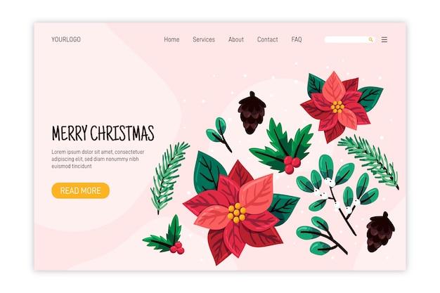 Platte ontwerp bestemmingspagina kerstsjabloon Gratis Vector