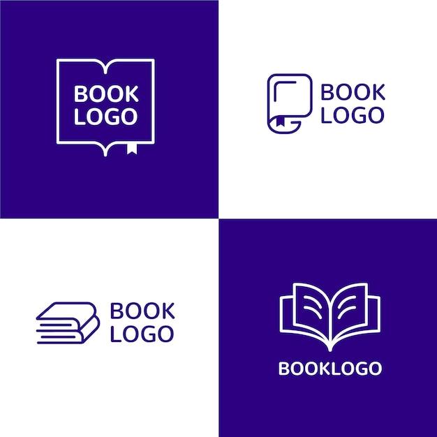 Platte ontwerp boek logo sjablonen set Gratis Vector