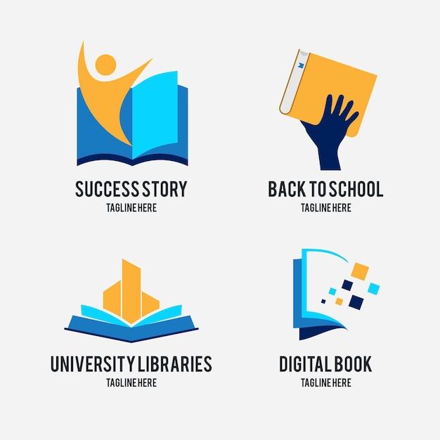 Platte ontwerp boek universum logo-collectie Gratis Vector