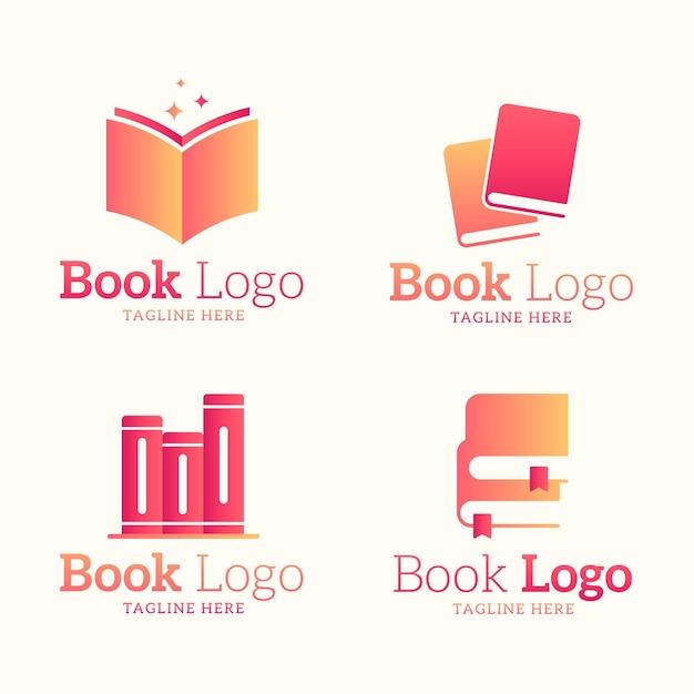 Platte ontwerp boeklogo-collectie Gratis Vector