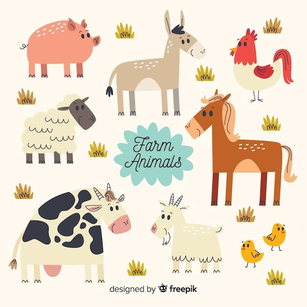 Platte ontwerp boerderij dieren collectie Gratis Vector