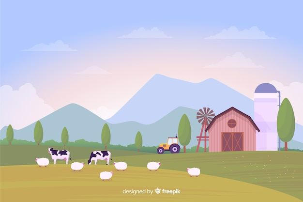 Platte ontwerp boerderij landschap-achtergrond Premium Vector