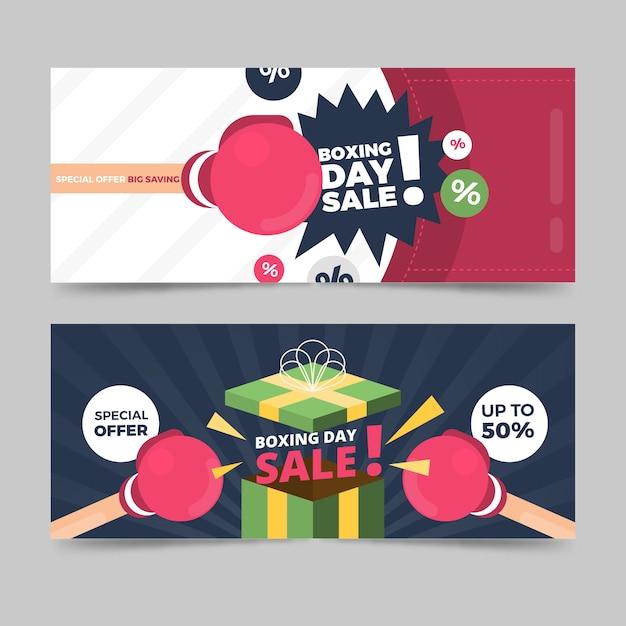 Platte ontwerp boksdag verkoop banners sjabloon Gratis Vector