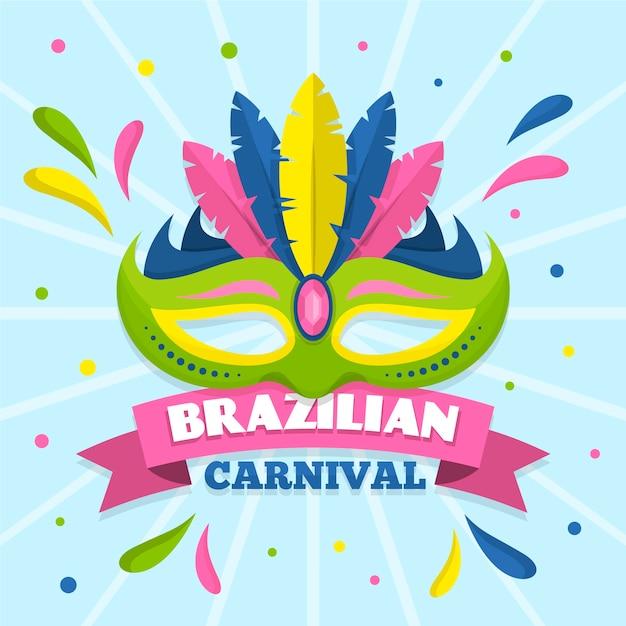 Platte ontwerp braziliaanse carnaval met masker Gratis Vector