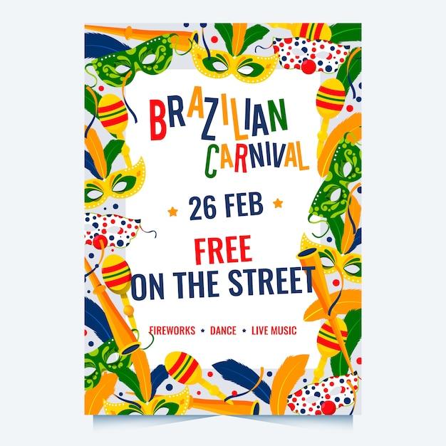 Platte ontwerp braziliaanse carnaval partij poster sjabloon Gratis Vector