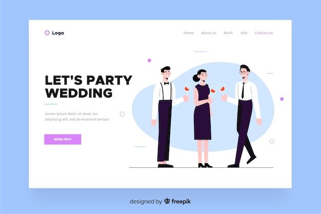 Platte ontwerp bruiloft bestemmingspagina Gratis Vector