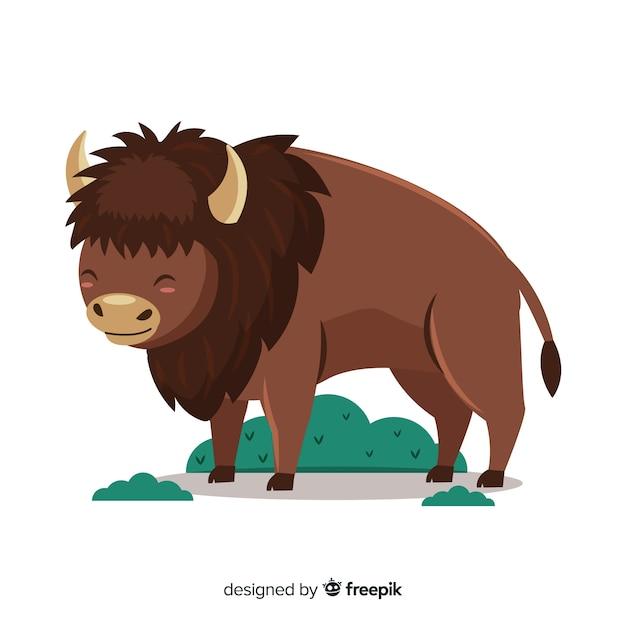 Platte ontwerp buffalo dier met gras Gratis Vector