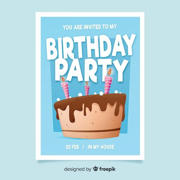 Platte ontwerp cake verjaardag uitnodiging sjabloon Gratis Vector