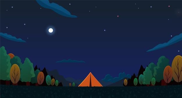 Platte ontwerp camping landschap met tenten 's nachts Gratis Vector