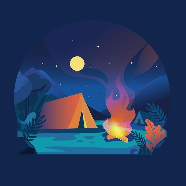 Platte ontwerp camping landschap 's nachts Premium Vector