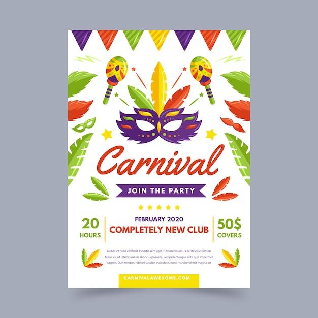 Platte ontwerp carnaval feest flyer Gratis Vector
