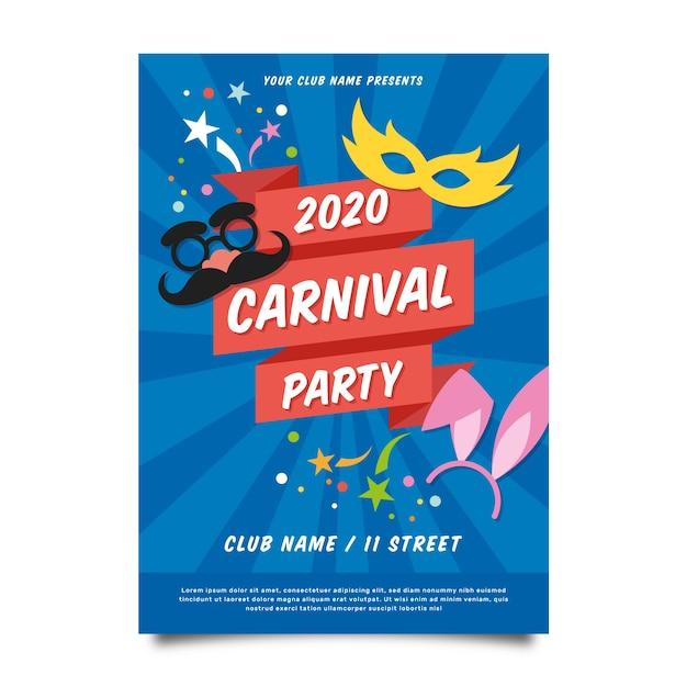 Platte ontwerp carnaval partij poster sjabloon Gratis Vector