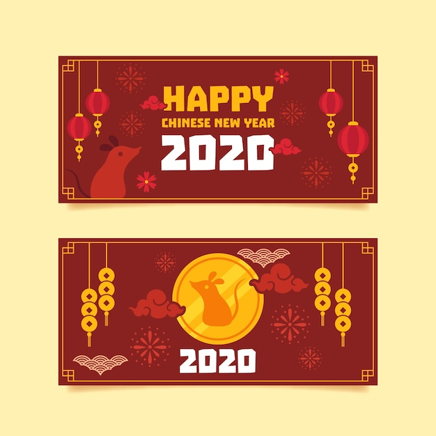 Platte ontwerp chinees nieuwjaar banners sjabloon Gratis Vector