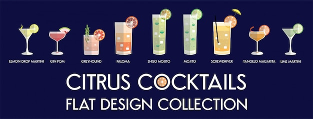Platte ontwerp citrus cocktail collectie in vector. Premium Vector