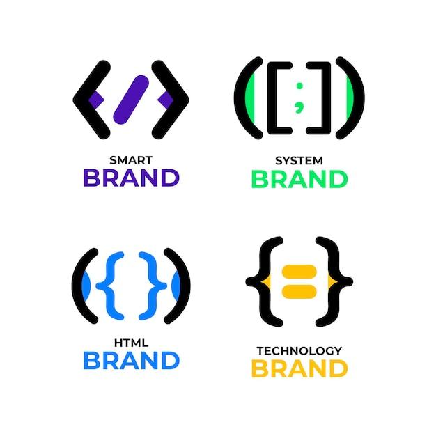 Platte ontwerp code logo collectie Gratis Vector