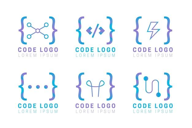 Platte ontwerp code logo set Gratis Vector