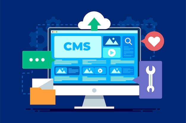 Platte ontwerp content management systeem concept illustratie Gratis Vector