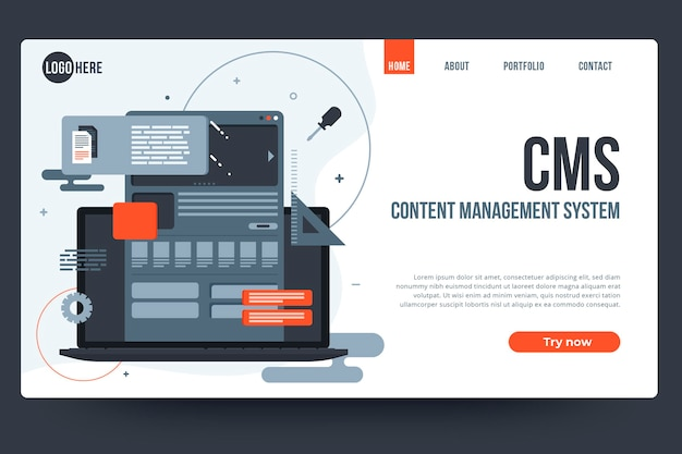 Platte ontwerp content management systeem websjabloon Gratis Vector