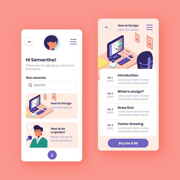 Platte ontwerp cursus app-collectie Gratis Vector