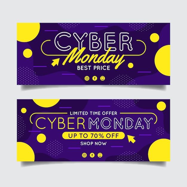 Platte ontwerp cyber maandag banner gele stippen Premium Vector
