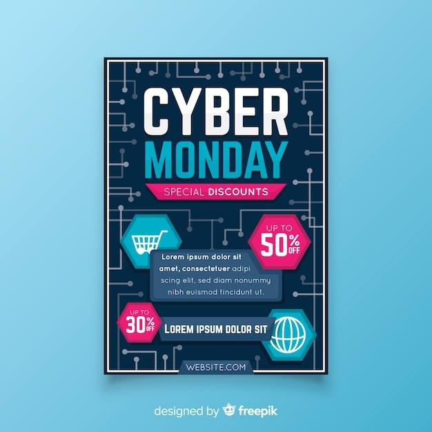 Platte ontwerp cyber maandag folder sjabloon Gratis Vector