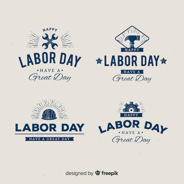 Platte ontwerp dag van de arbeid badge-collectie Gratis Vector
