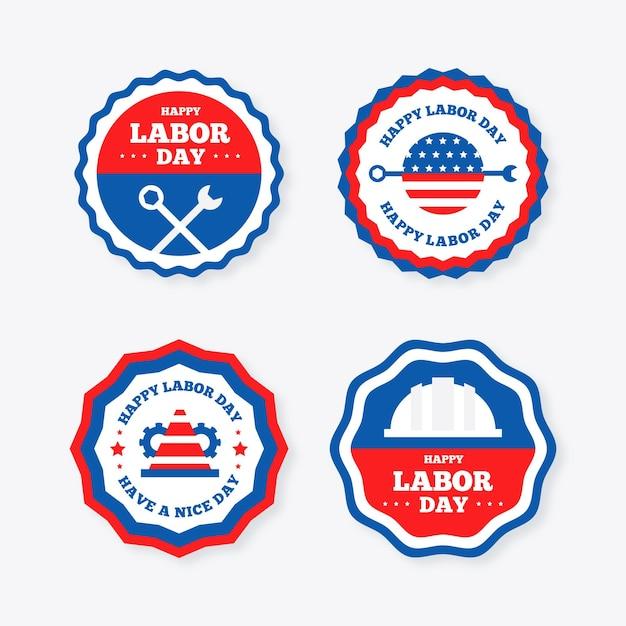 Platte ontwerp dag van de arbeid badge collectie Gratis Vector