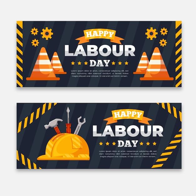 Platte ontwerp dag van de arbeid banners sjabloon Gratis Vector