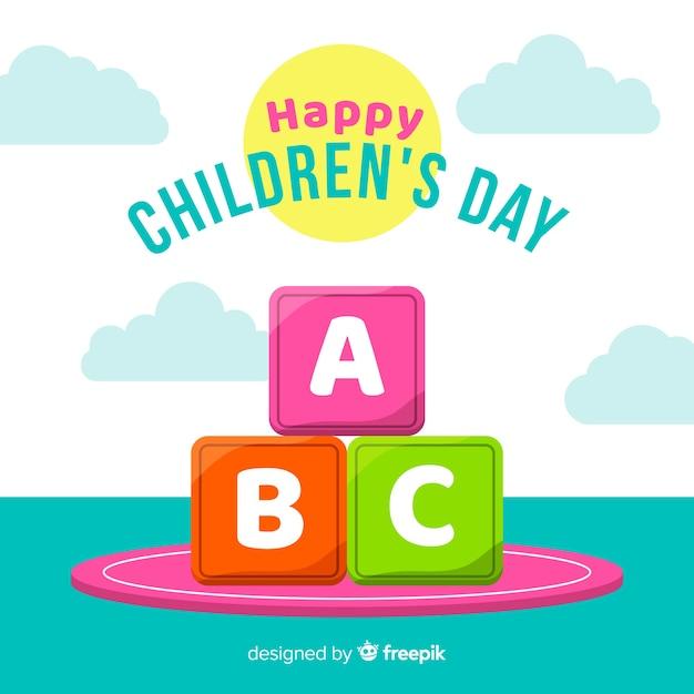 Platte ontwerp dag van de kinderen achtergrond Gratis Vector