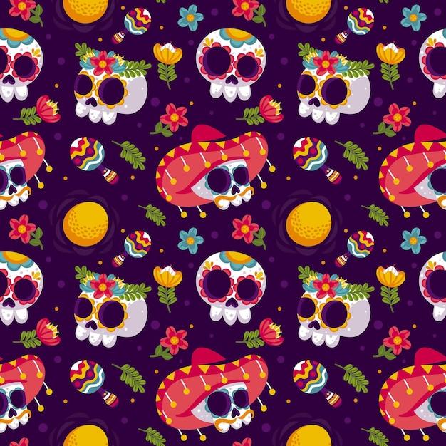 Platte ontwerp dag van het dode patroon sjabloon Gratis Vector