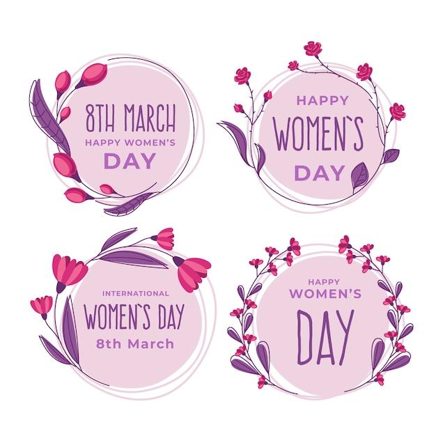 Platte ontwerp dames dag badge collectie Gratis Vector
