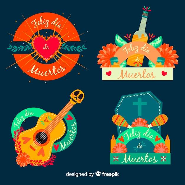 Platte ontwerp dia de muertos badge-collectie Gratis Vector