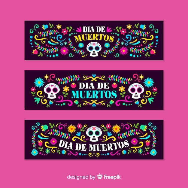 Platte ontwerp día de muertos banners sjabloon Gratis Vector