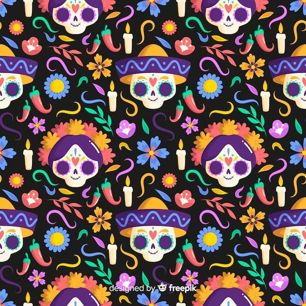 Platte ontwerp dia de muertos naadloos patroon Gratis Vector