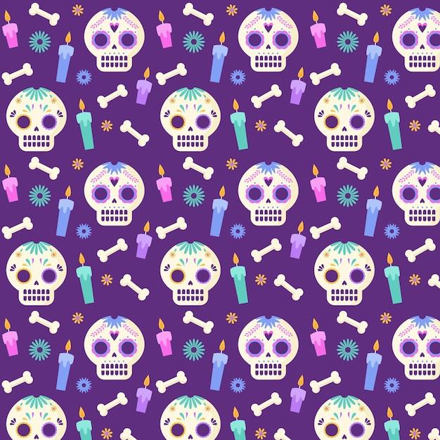 Platte ontwerp dia de muertos patroon Gratis Vector