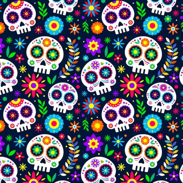 Platte ontwerp día de muertos patroon Gratis Vector