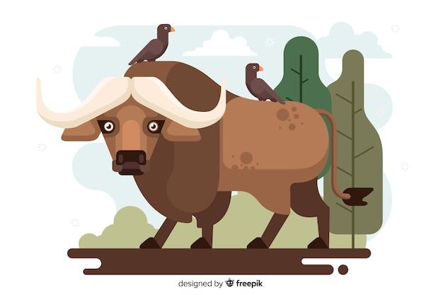Platte ontwerp dieren in het wild buffalo cartoon Gratis Vector