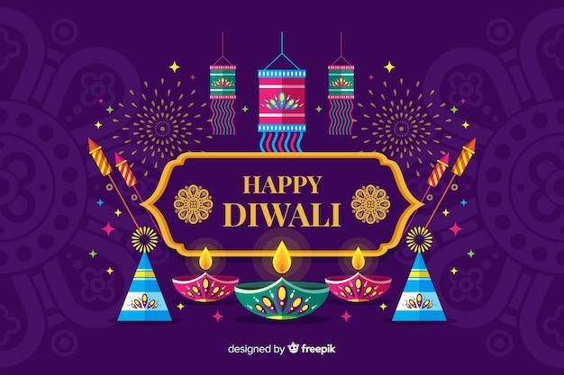 Platte ontwerp diwali festival achtergrond met kaarsen Gratis Vector