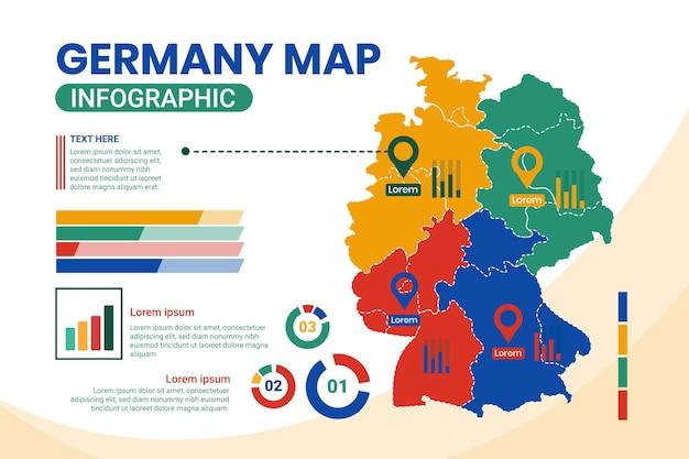 Platte ontwerp duitsland kaart infographic Gratis Vector