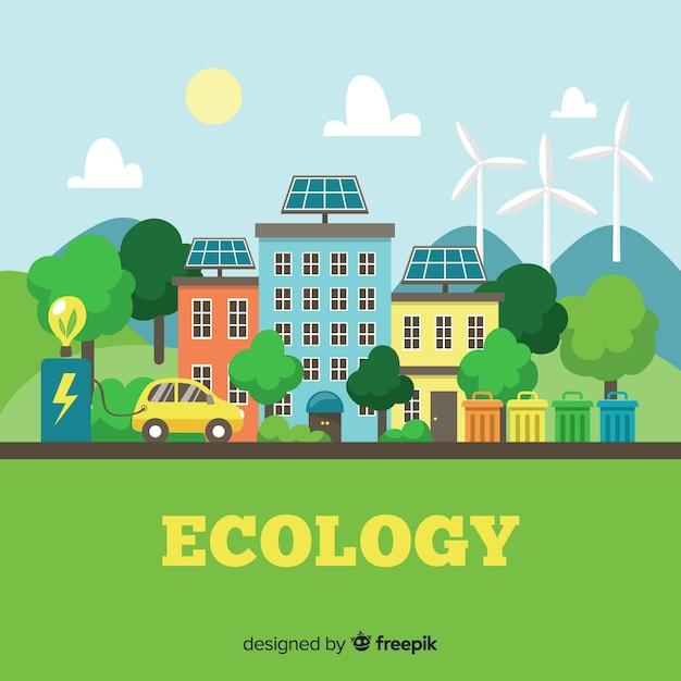 Platte ontwerp ecologie concept met natuurlijke elementen Gratis Vector