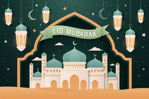 Platte ontwerp eid mubarak achtergrond met moskee Gratis Vector