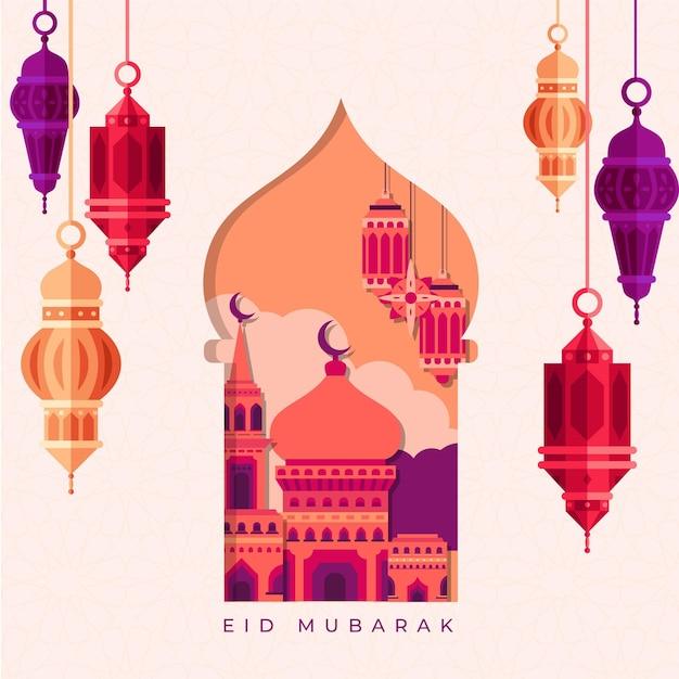 Platte ontwerp eid mubarak met lantaarns en moskee Gratis Vector