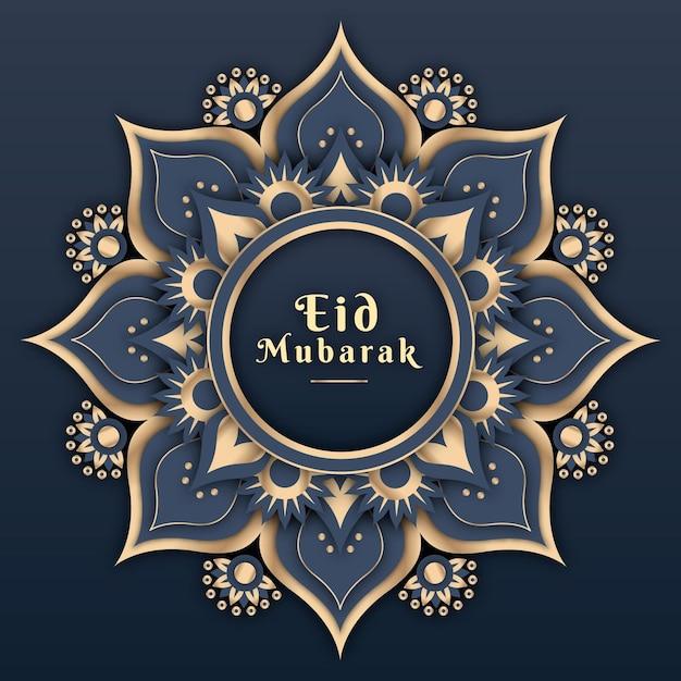 Platte ontwerp eid mubarak met mandala Gratis Vector