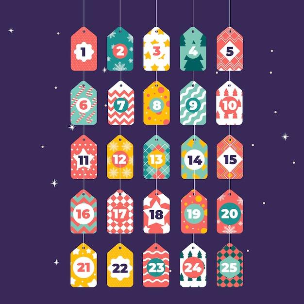 Platte ontwerp feestelijke adventskalender Gratis Vector