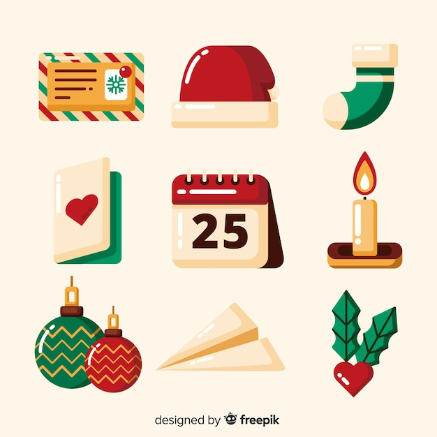 Platte ontwerp feestelijke kerst element collectie Gratis Vector