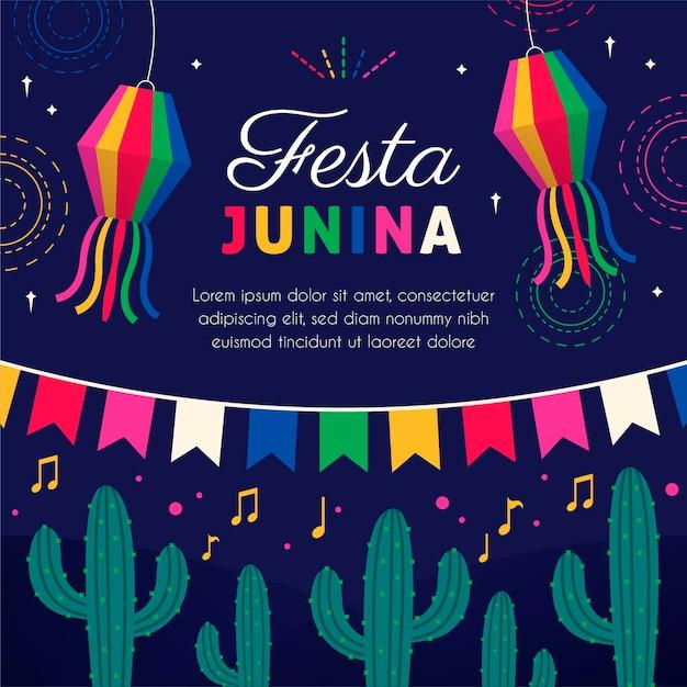 Platte ontwerp festa junina achtergrond Gratis Vector