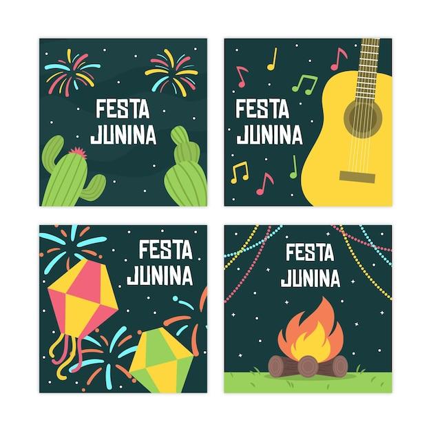 Platte ontwerp festa junina kaartenset sjabloon Gratis Vector