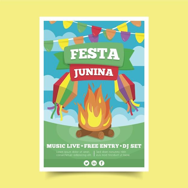 Platte ontwerp festa junina poster sjabloon Gratis Vector