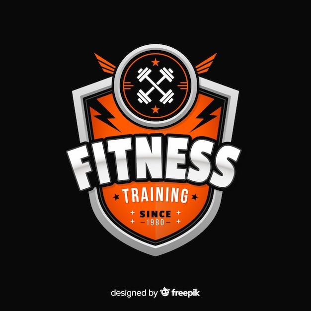 Platte ontwerp fitness-logo sjabloon Premium Vector