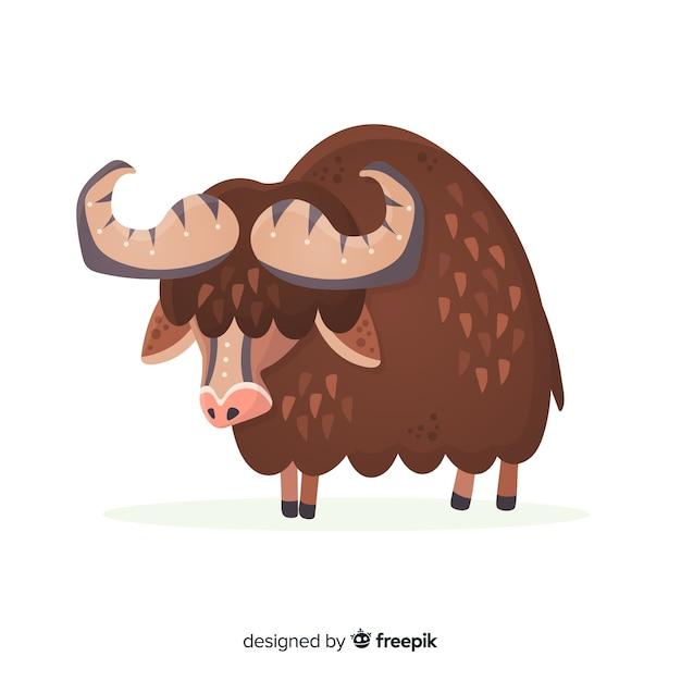 Platte ontwerp gehoornde en bruine buffel Gratis Vector